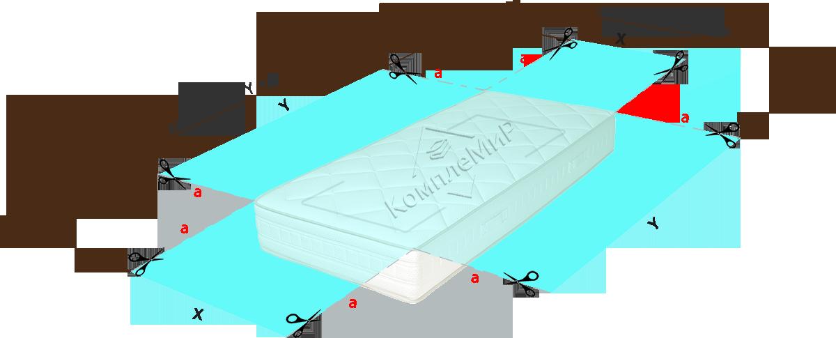 эскиз раскроя ткани - простынь на резинке